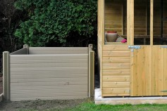 Natural gravel boards used to create a compost bin